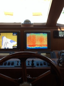 Garmin electronics at Marlow 58 lower helm.