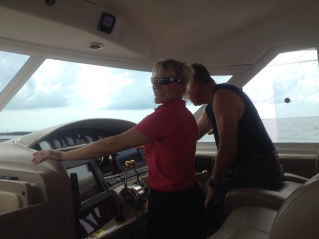 Theresa & Randy at the helm