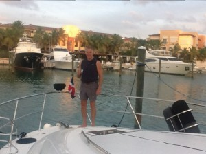 Randy on the bow, Cap Cana Marina, DR