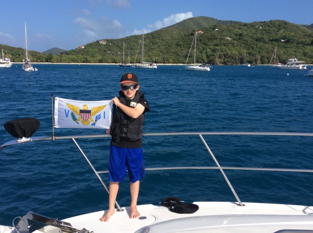 Ryan hoisting the USVI courtesy flag