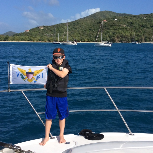 Ryan hoisting the USVI courtesy flag