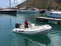 Ryan docking the dinghy