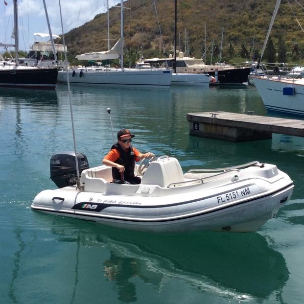 Ryan docking the dinghy