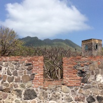 Fort Oranje, view towards The Quill volcano