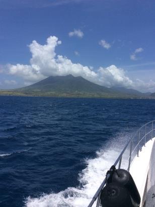 Cruising by St. Kitts, dormant volcano