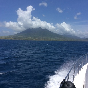 Cruising by St. Kitts, dormant volcano