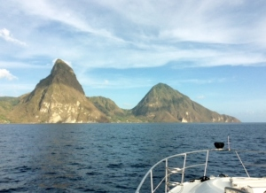 Approaching St. Lucia Piton anchorage
