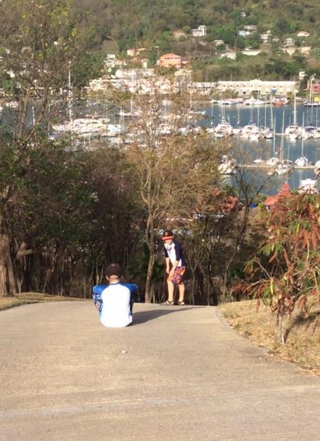R&R hiking the mound, Port Louis, Grenada