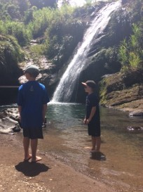 R&R watching cliff diver Concord Waterfalls