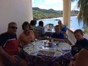 Chuck, Patti, Ronan and Ryan, lunch on the north shore