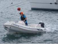 Ryan manning the dinghy