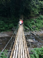 R&R on the bamboo bridge, Dark View Falls, St. Vincent