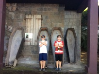 Ryan and Ronan, Pirates of the Caribbean set, Wallilabou Bay, St. Vincent