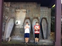 Ryan and Ronan, Pirates of the Caribbean set, Wallilabou Bay, St. Vincent