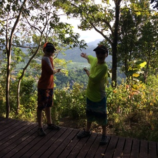 Ryan & Ronan on the Meditation Platform - The Views Were Worth the Climb, Marigot Bay Hike, St. Lucia
