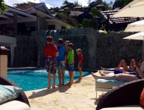 R&R Playing at the Pool, Capella Resort, Marigot Bay, St. Lucia