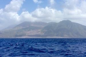 Cruising past the active volcano in Montserrat