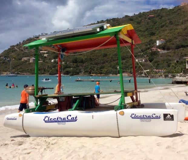 Solar powered picnic table catamaran