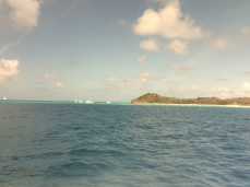 Cruising past Richard Branson's Necker Island, BVI