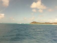 Cruising past Richard Branson's Necker Island, BVI