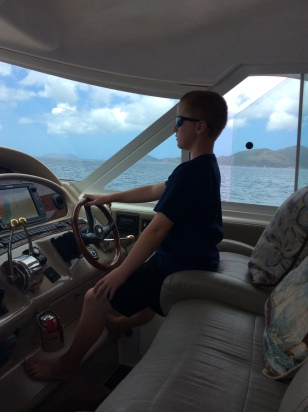 Ronan at the helm, BVIs