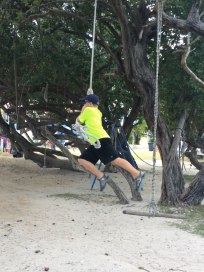 Ronan on the rope swing, Nanny Cay, BVI