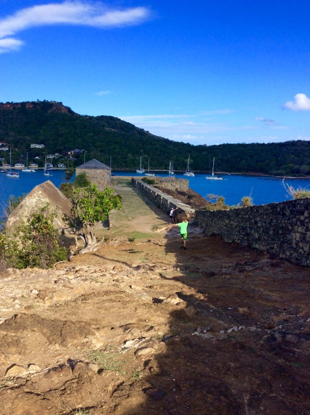 Hiking the grounds of Fort Berkeley, Antigua