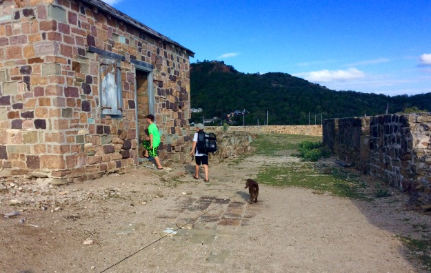 Ronan, Ryan & Patton checking out the Gun Powder House, Fort Berkeley, Antigua