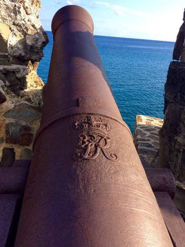British Insignia on 1805 Cannon, Fort Berkeley, English Harbor, Antigua