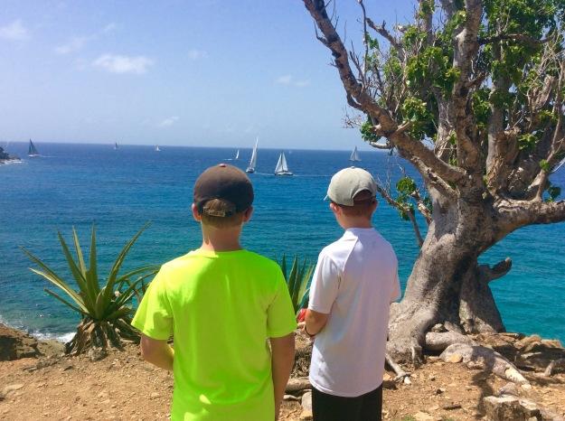Ronan & Ryan watching the Antigua Sail Week races from atop Fort Berkeley