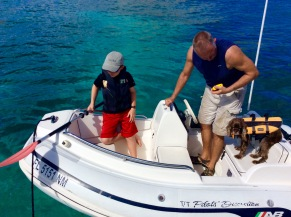 Ryan, Randy & Patton securing the dinghy in Majors Bay, St. Kitts