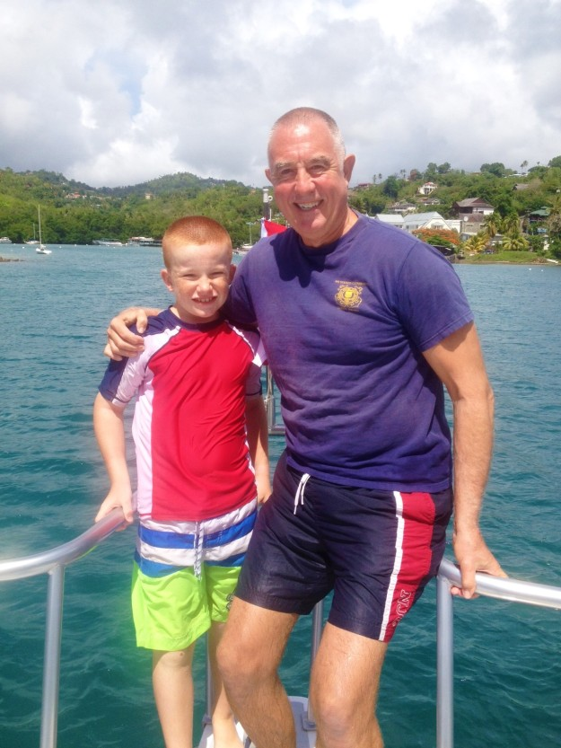 Randy & Ryan after completing their open water scuba certification dive, St. Lucia