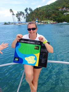 "Dive instructor ""Julia"" showing chart of dive site"