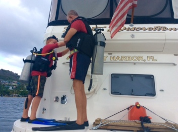 Ryan and Randy getting ready to dive the mooring ball in Bequia