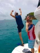 Randy and Ronan diving the mooring ball, Baradol Island, Tobago Cays