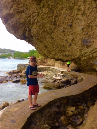 Ryan and Ronan hiking along the waterfront in Bequia