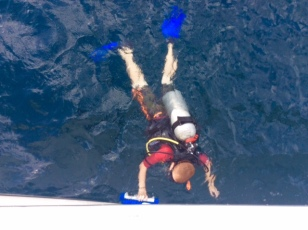 Ryan diving the boat in Bequia!