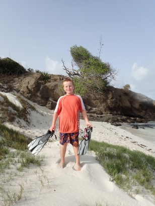 Ronan setting out to explore Baradal Island, Tobago Cays Marine Park