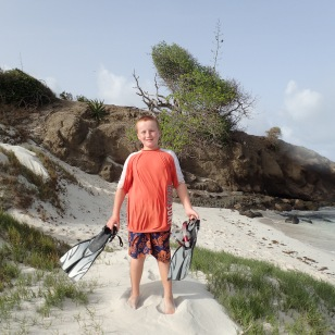 Ronan setting out to explore Baradal Island, Tobago Cays Marine Park