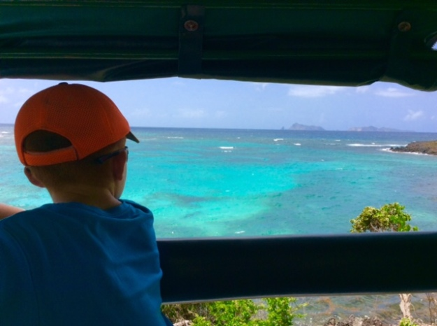 Ryan on Gideon's open air bus tour, Bequia