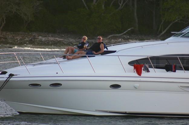 Theresa & Randy enjoying sundowners and the sunset on the bow, Salt Whistle Bay, Mayreau