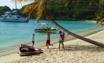 Playing on the beach, Salt Whistle Bay, Mayreau