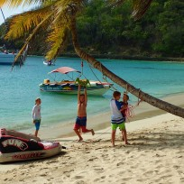 Playing on the beach, Salt Whistle Bay, Mayreau