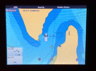 Pilots' Discretion moored between Petit Rameau and Petit Bataeu