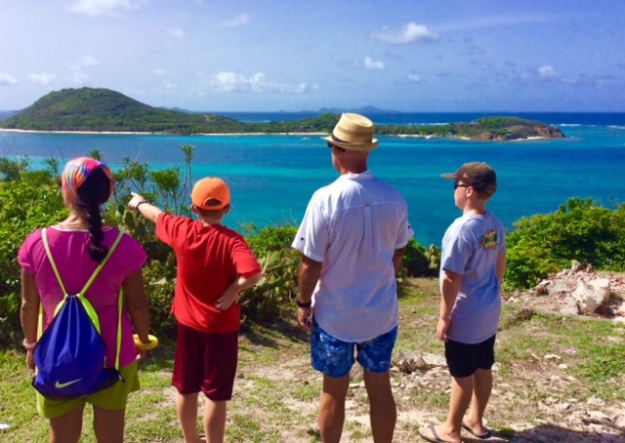 Paulette, Ryan, John & Ronan, view from atop Petite Martinique, Grenada (looking towards Petit St. Vincent)