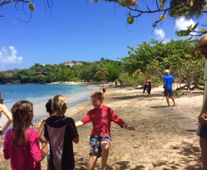 Mini-Olympics, Ryan tagging off in the relay races in Grenada