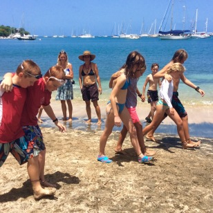 Mini-Olympics, three legged race in Grenada