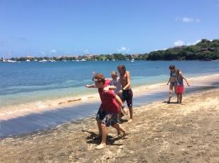 Mini-Olympics, three legged race in Grenada