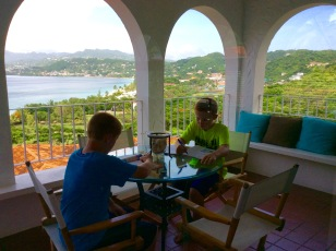 Homeschooling on the balcony, Mount Cinnamon Resort, St. George's Grenada