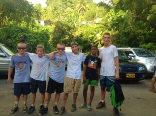 Ronan, Sam, Ryan, Aaron, Josh and Eli finish the hike in Grenada (yep, more mud!)